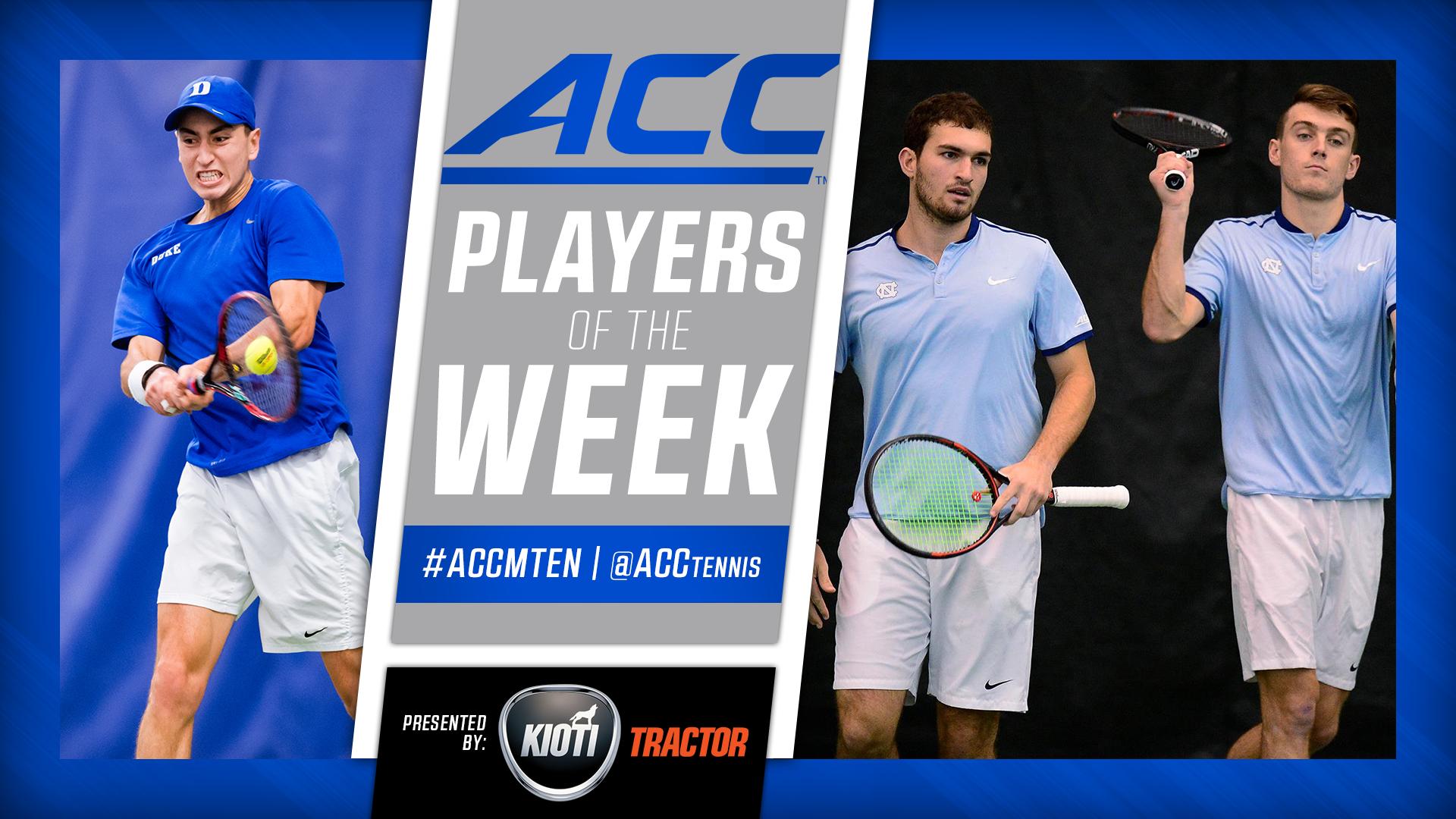 ACC Announces Men's Tennis Weekly Awards
